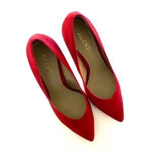 Aldo Shoes - ALDO 'Roberge' Red Suede Pointed Heels Sz 8